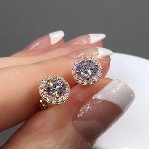 Jewelry - 18k rose gold halo diamond stud earrings 1.25 ct